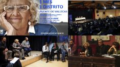 Cartel de la iniciativa 'Un Mes, Un Distrito' y algunas de las visitas. (Fotos. Madrid)