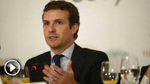 Pablo Casado, en el desayuno de Europa Press.