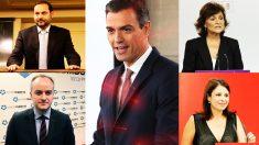 Pedro Sánchez, José Luis Ábalos, Carmen Calvo, Adriana Lastra e Iván Redondo