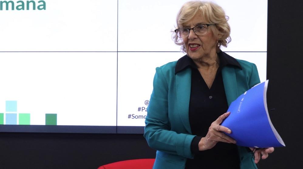 Manuela Carmena este lunes en un debate. (Foto. Madrid)