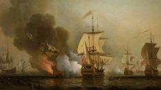 Ilustración de Samuel Scott de la explosión del galeón San José | National Maritime Museum