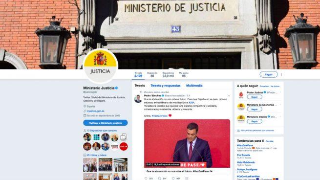 El PSOE usa las redes sociales del Ministerio de Justicia como altavoz de la campaña de Sánchez