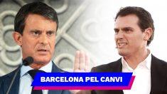 Manuel Valls y el logo de su nuevo partido 'Barcelona pel Canvi'.