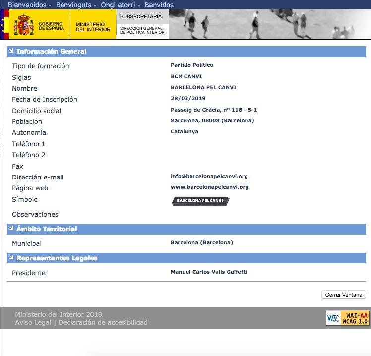 Ficha del nuevo partido en el registro. (Clic para ampliar)