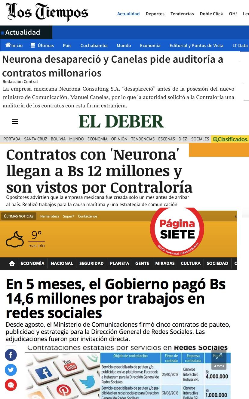 Alguna de las noticias que afectan a Neurona en Bolivia.