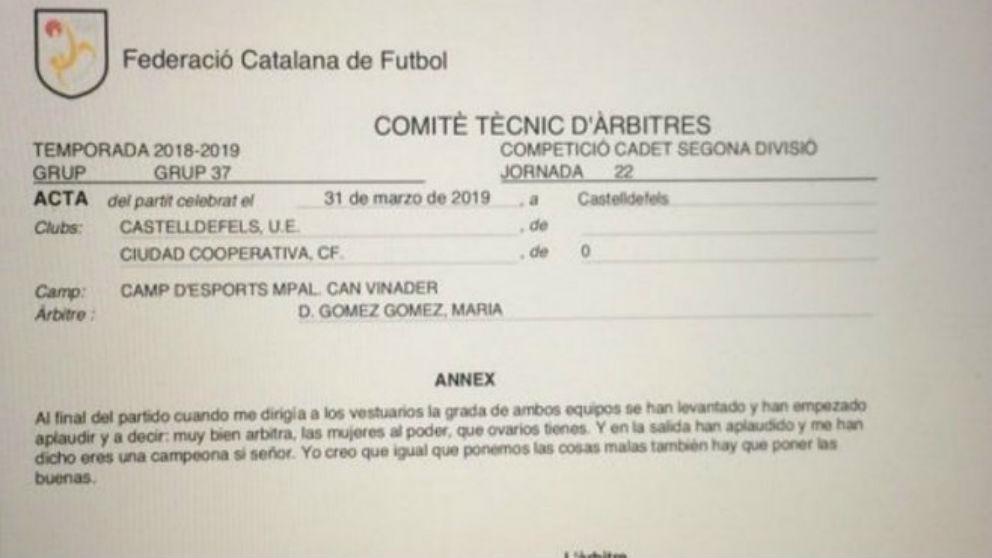Este es el acta del partido que dirigió la árbitra María Gómez Gómez.