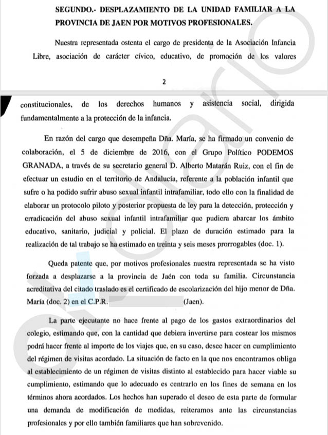 La asesora de Podemos eludió a la Justicia y alejó 330 km a su hijo del padre gracias al trabajo que le dio su partido