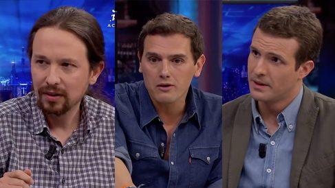 Pablo Iglesias, Albert Rivera y Pablo Casado durante sus entrevistas en 'El Hormiguero 3.0'