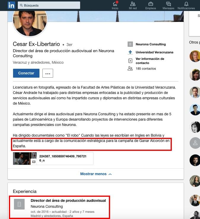 Perfil de César Andrade en LinkedIn. (Clic para ampliar)