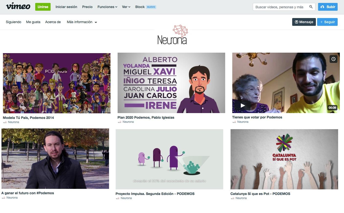 Perfil de Neurona en Vimeo con algunos de los vídeos que han hecho para Podemos.