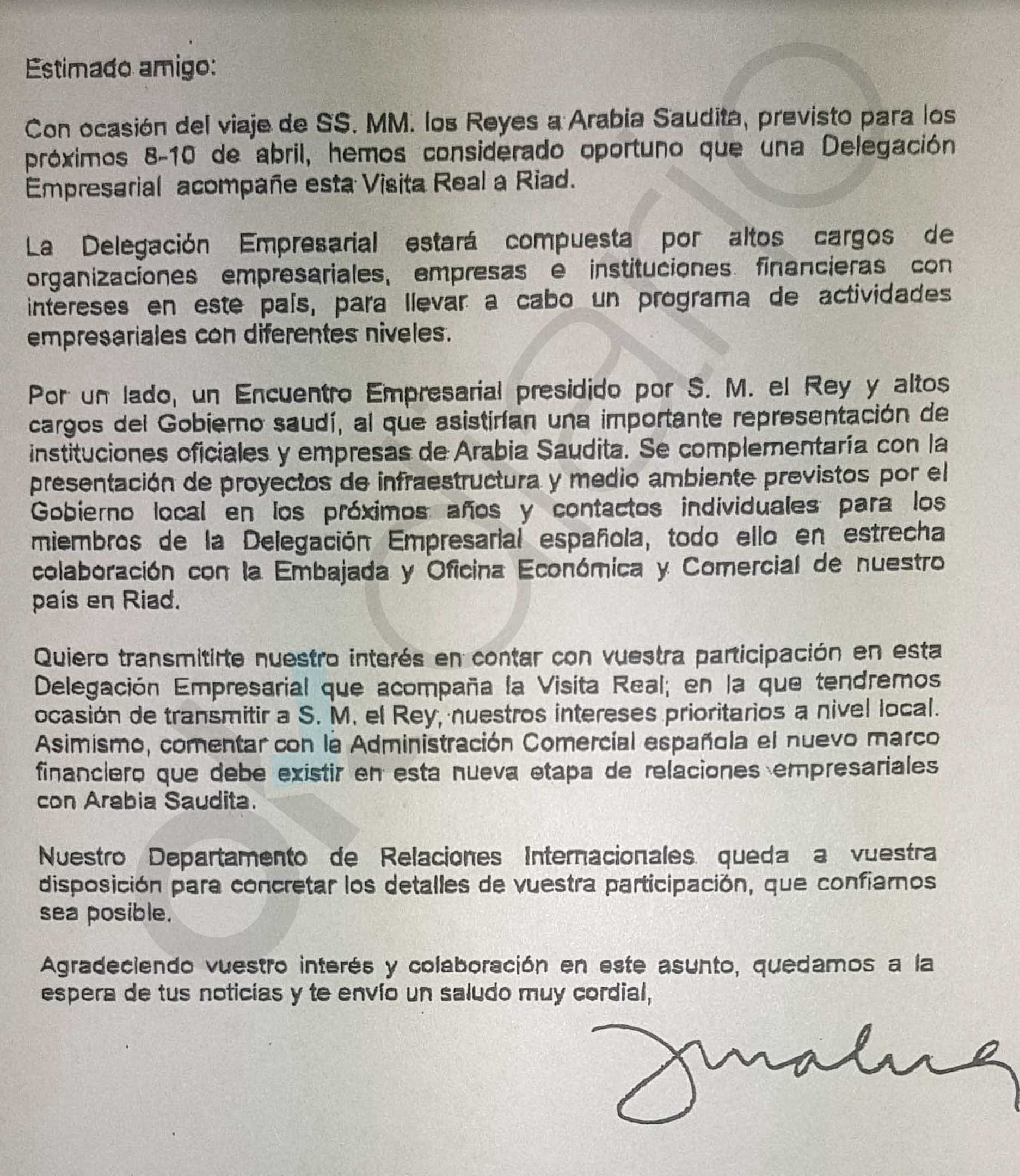 Otro documento prueba que la comisionista Zanganeh fue con el Rey a Riad para atar las mordidas del AVE a la Meca