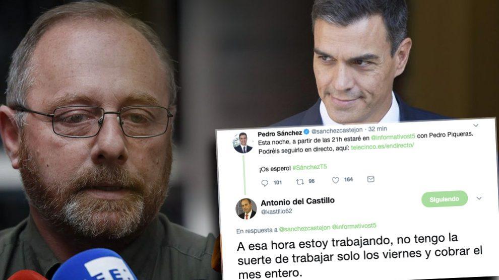 Antonio del Castillo, Pedro Sánchez y su enfrentamiento en Twitter