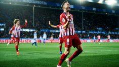 Saúl Ñíguez celebra uno de sus últimos goles con el Atlético de Madrid. (Getty)