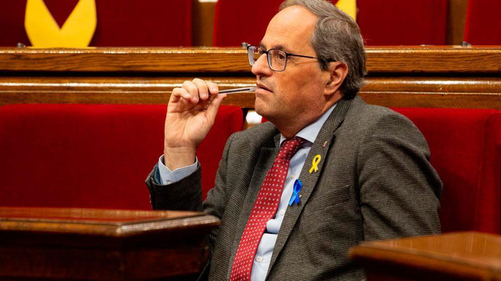 Quim Torra en el Parlamento de Cataluña.