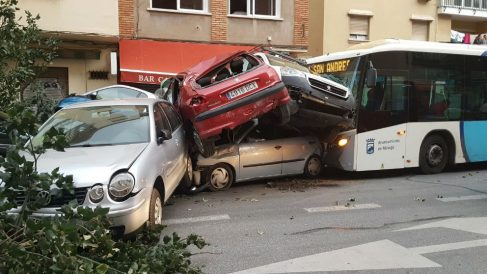 Accidente de autobús en Málaga. Foto: Europa Press