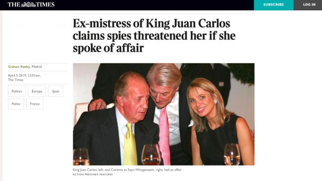 'The Times' se hace eco de las amenazas del CNI a Corinna desveladas por OKDIARIO