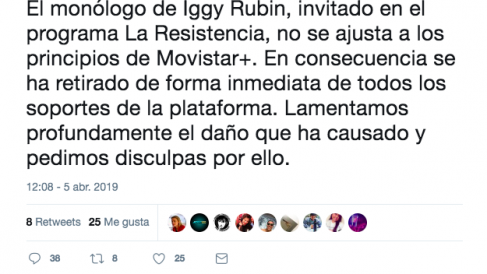 Movistar pide perdón.