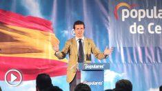 El presidente del Partido Popular, Pablo Casado, durante un acto de su partido efectuado en Ceuta. (Foto: Efe)