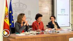 Ribera, Celaá y Valerio durante la rueda de prensa del Consejo de Ministros. Foto: Joan Guirado
