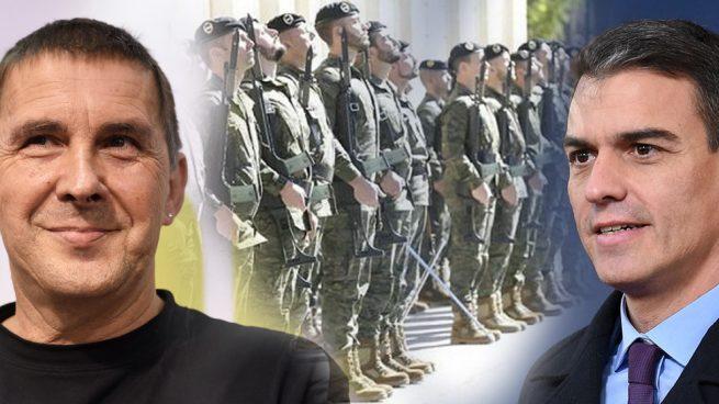 Otegi se envalentona y pone precio a Sánchez por su apoyo: que los militares se vayan del País Vasco