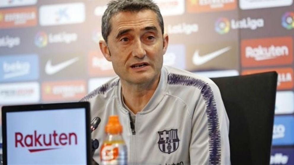 Ernesto Valverde, durante una rueda de prensa. (Europa Press)