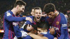 El Barcelona celebra un gol. (AFP)