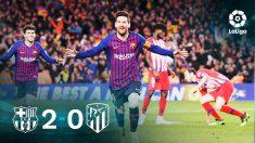 Leo Messi celebra el segundo gol del Barça que sentenció al Atlético.