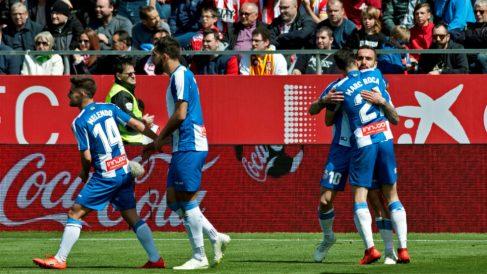 El Espanyol celebra un gol en Montilivi (EFE)