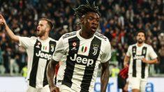 Kean celebra el gol de la victoria de la Juventus contra el Milan.
