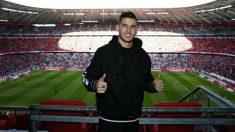 Lucas Hernández posa en el Allianz Arena.