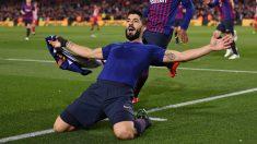 Luis Suárez celebra su gol en el Barcelona – Atlético de Madrid.