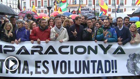Manifestación de policías y guardias civiles por la equiparación salarial. Foto: EP