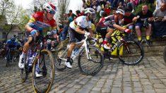 Alejandro Valverde, en un tramo de pavés.