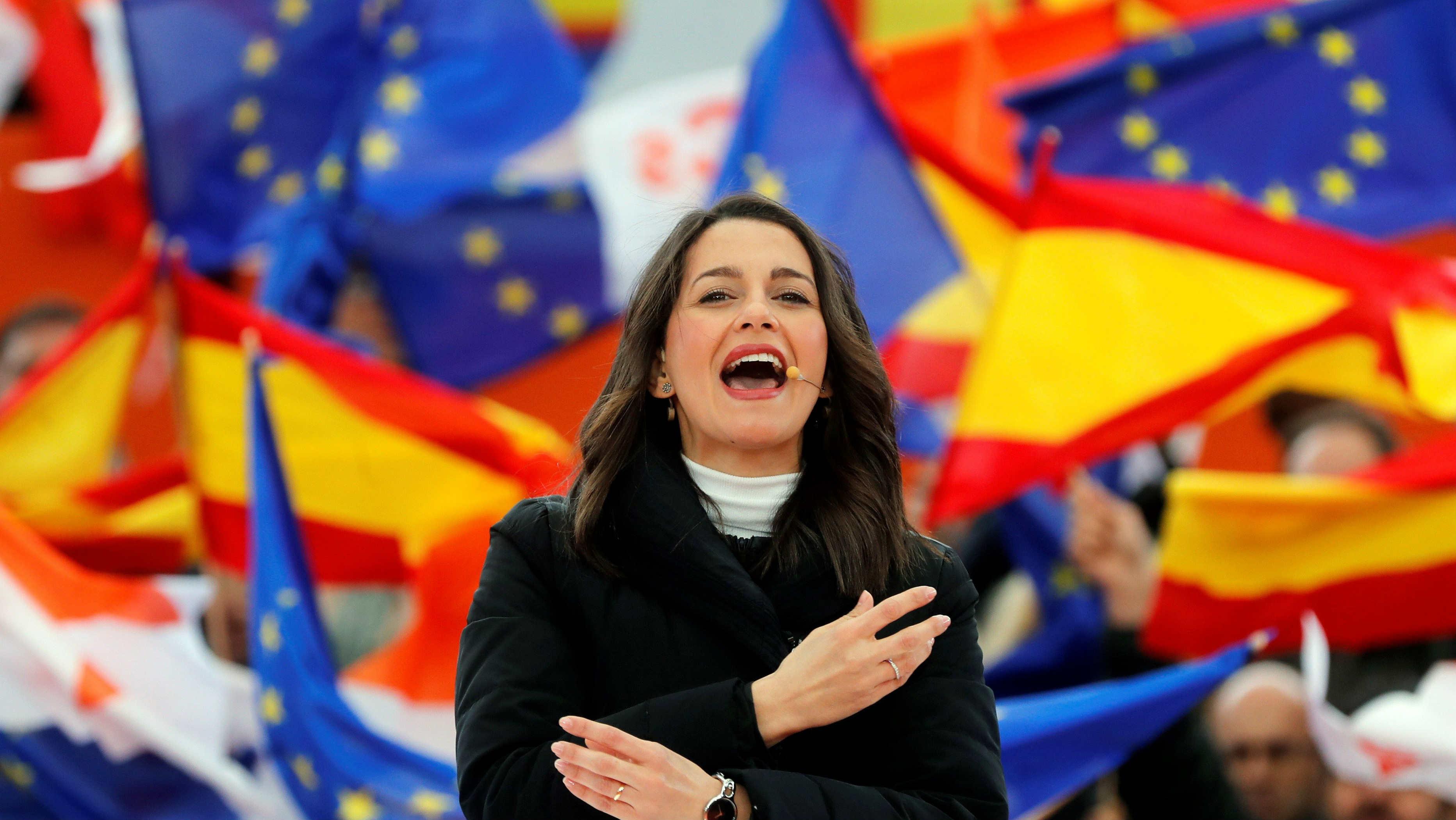 Inés Arrimadas, durante su intervención en un mitin. (Foto: EFE/Juan Carlos Hidalgo)