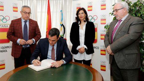 Pedro Sánchez estuvo en el CSD en un acto con María José Rienda, Alejandro Blanco y José Luis Mendoza.