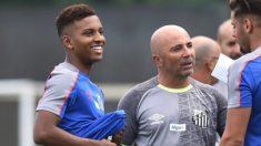 Rodrygo y Sampaoli, en un entrenamiento del Santos.