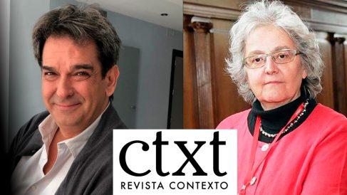 El director de 'CTXT', Miguel Mora, y la directora de 'El País', Soledad Gallego-Díaz