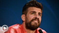 Piqué, durante la rueda de prensa previa al United-Barcelona. (AFP)