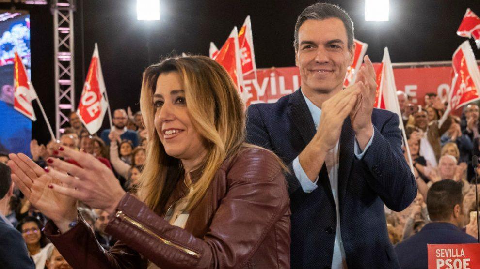 El secretario general del PSOE, Pedro Sánchez, junto a la líder de los socialistas andaluces, Susana Díaz. (Foto: EFE)