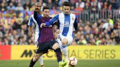 Mario Hermoso con Messi (AFP)