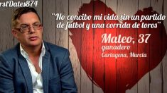 Mateo ha sido muy sincero en 'First Dates'
