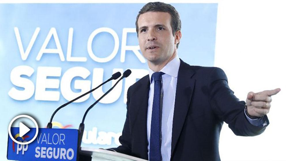 El presidente del PP, Pablo Casado, durante la presentación en Barcelona del programa de su partido para las próximas elecciones generales. (Foto: Efe)