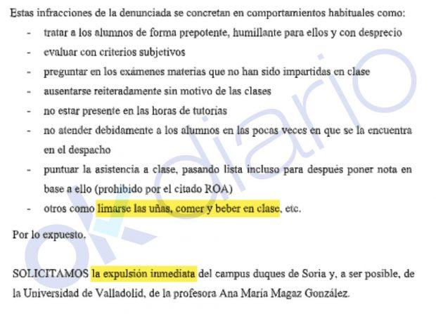 Universitarios de Valladolid piden la expulsión de una profesora de CCOO por limarse las uñas en clase