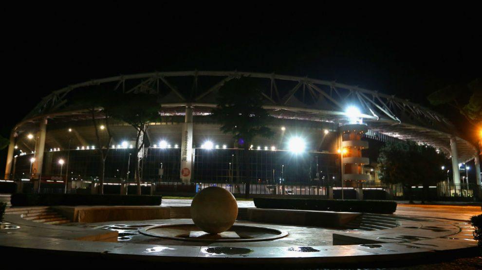 Una imagen del estadio olímpico de Roma antes de un partido de Champions. (Getty)