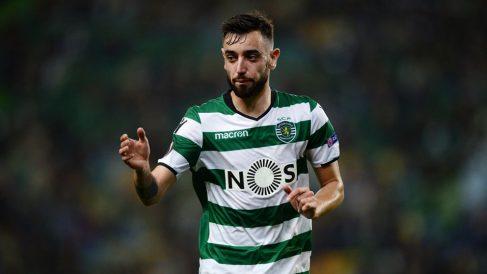 Bruno Fernandes, durante un encuentro con el Sporting de Portugal. (Getty)