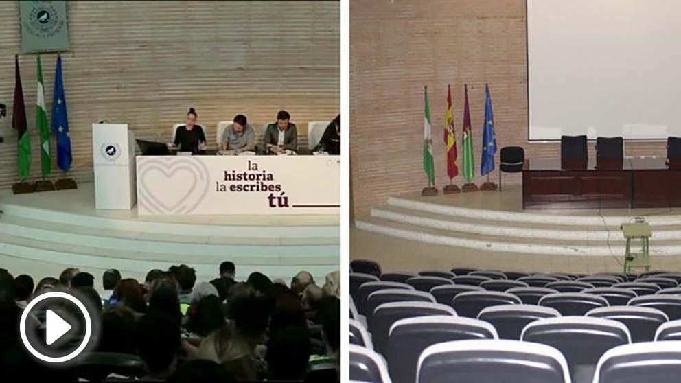 El mitin electoral de Podemos en la Universidad de Málaga sin la bandera de España (izquierda), y la sala de actos de la universidad con la enseña nacional (derecha)