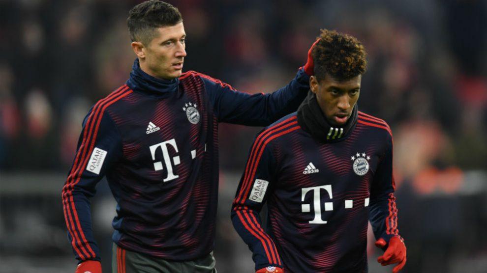 Lewandowski y Coman durante un entrenamiento con el Bayern. (AFP)