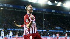 Saúl, celebra un gol ante el Alavés (Getty).