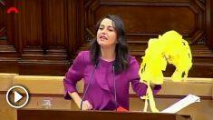 Inés Arrimadas exhibiendo los lazos amarillos que ha retirado de las calles