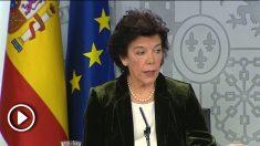 Isabel Celaá, portavoz del Gobierno de Pedro Sánchez